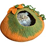 Earthtone Solutions Best Cat Cave Bed, Unique Handmade Natural Felted Merino Wool, Large Covered and Cozy, Also Perfect for Kittens, Includes Bonus Catnip, Original Cat Caves