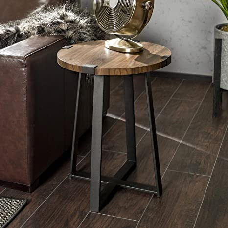 Incredible We Furniture Rustic Farmhouse Round Metal Side End Accent Table Living Room 18 Inch Walnut Brown Ibusinesslaw Wood Chair Design Ideas Ibusinesslaworg