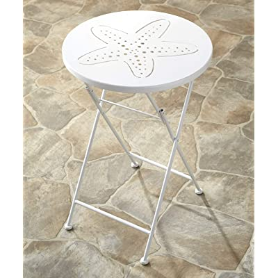 The Lakeside Collection Foldable Metal Icons Sea Creatures Outdoor Bistro Table - Starfish: Garden & Outdoor