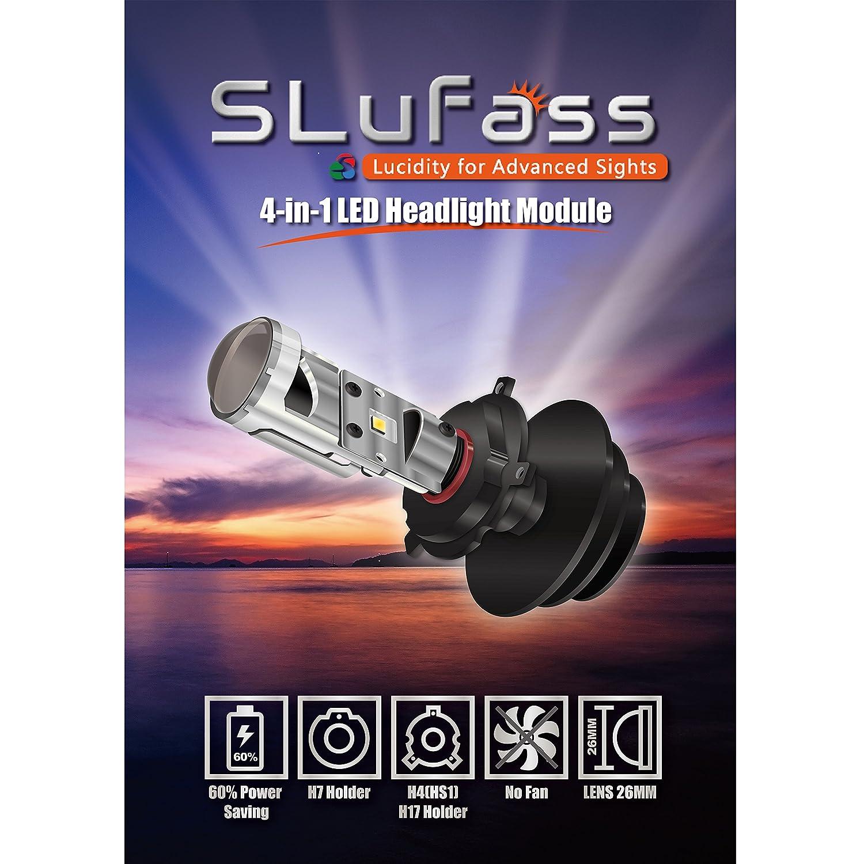 Bombilla de motocicleta 4 en 1 SLuFass - Módulo LED para H4, HS1, H17 y H7 (Una unidad, blanca 5700K): Amazon.es: Coche y moto