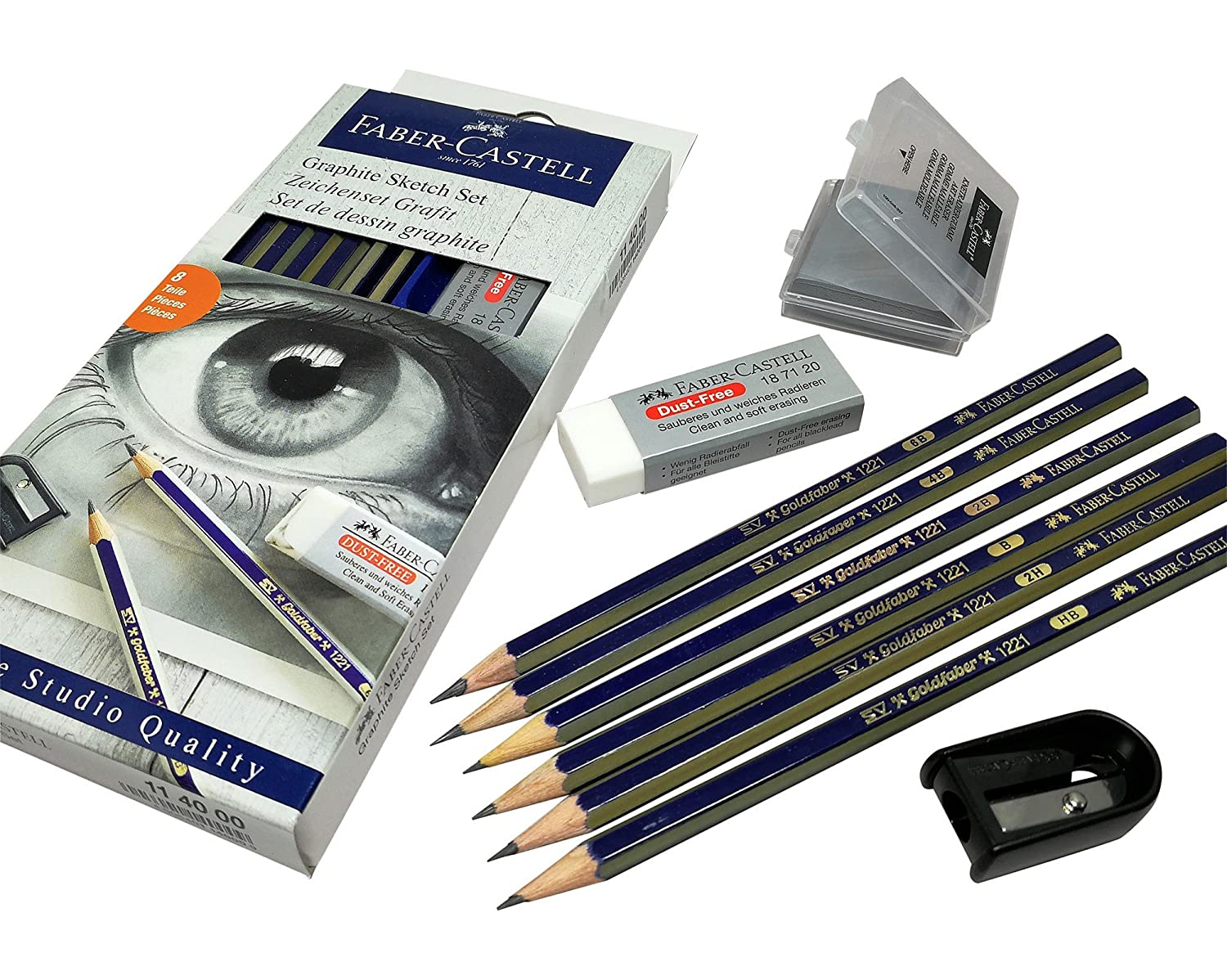 Amazon com faber castell pencils 2b 2h hb 4b 6b b graphite art pencils set with eraser kneaded eraser pencil sharpener for sketch drawing and