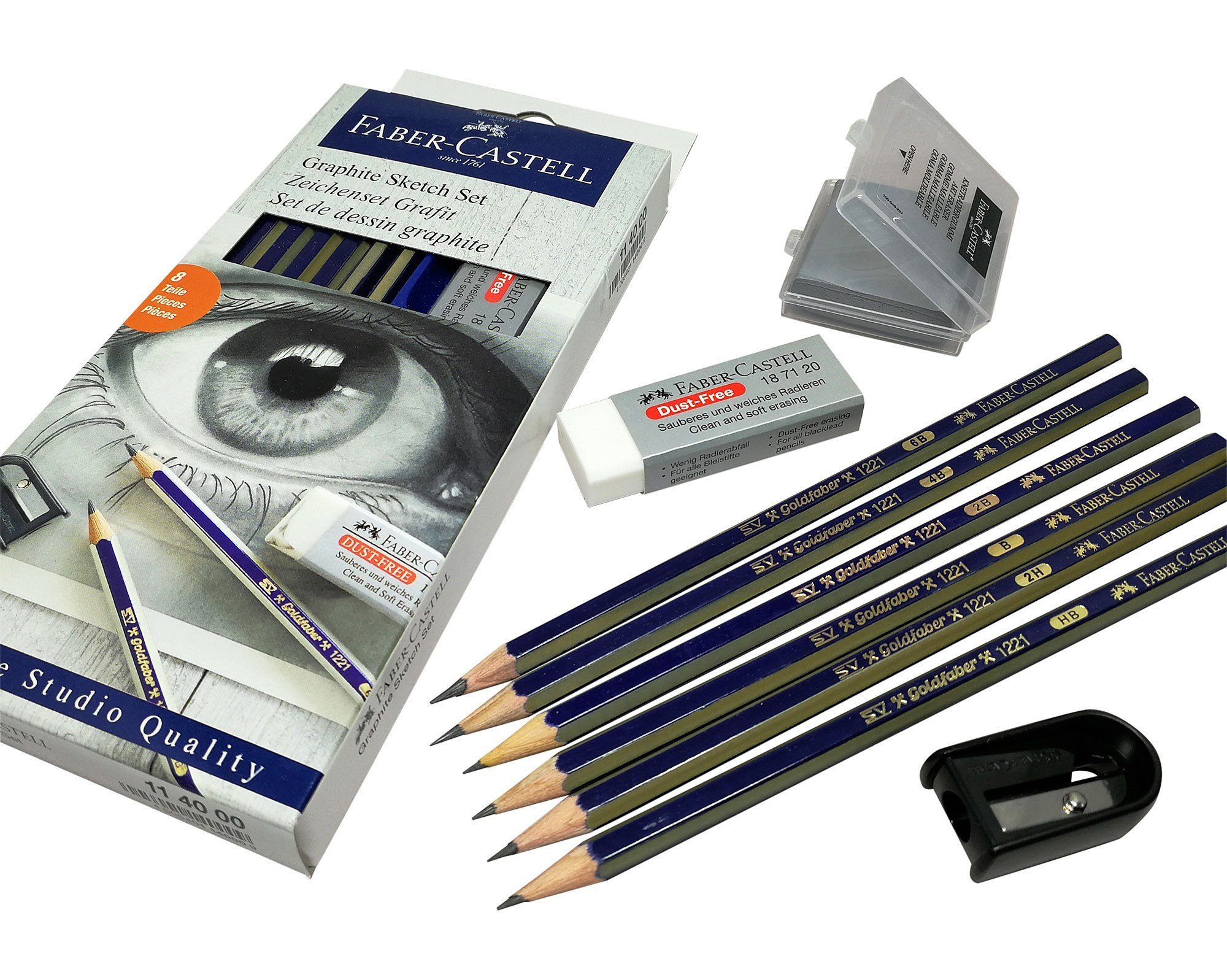 Faber-Castell pencils, 2B, 2H, HB, 4B, 6B, B graphite art pencils set with eraser, Kneaded eraser, pencil Sharpener for sketch, drawing and sketching