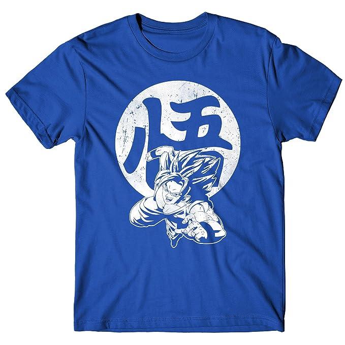 LaMAGLIERIA Camiseta Hombre Goku - Camiseta Dragon Ball 100% Algodòn, S, Azul