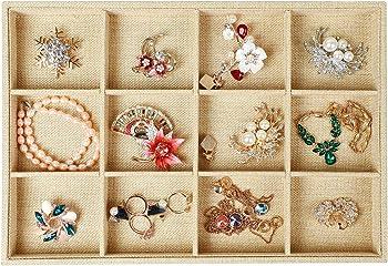 Stylifing Burlap Linen 12 Grid Jewelry Tray Organizer