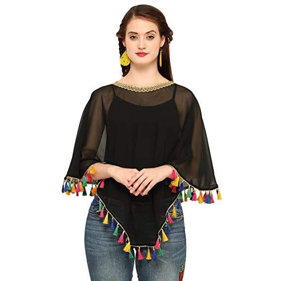 9198a2fe28a2c CHAKUDEE Women s Georgette Poncho (Black