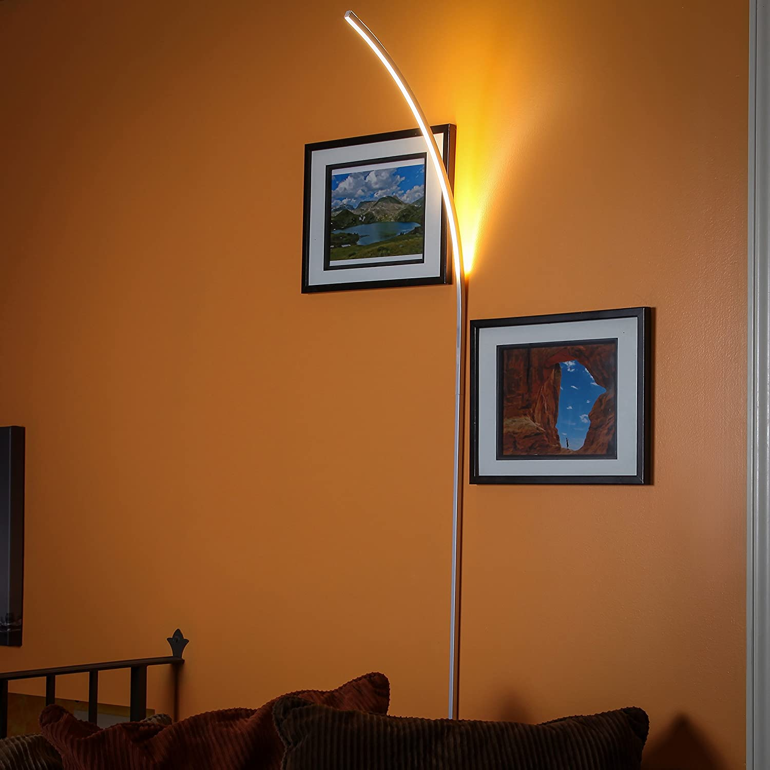 brightech sparq m led arc wall lamp curved contemporary