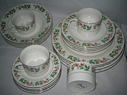 gibson holiday gold holly charm 20 piece dinnerware set - Cheap Christmas Dinnerware Sets
