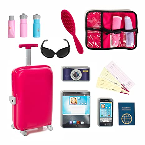 27d00ef0ee Amazon.com: 18 inch Doll Travel set including Carry on Luggage with Ticket  Passport & 14 accessories.: Toys & Games