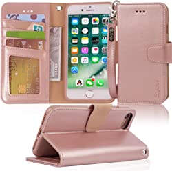 iPhone 7 Flip Case/iPhone 8 Flip Case, Arae iPhone 7/8 Leather case with Card Slots and Wallet for Girls,Rosegold