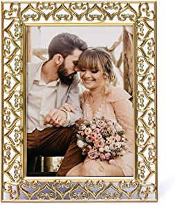 MIMOSA MOMENTS Heart Border Metal Picture Frame with Rhinestones Décor (Gold, 5x7)