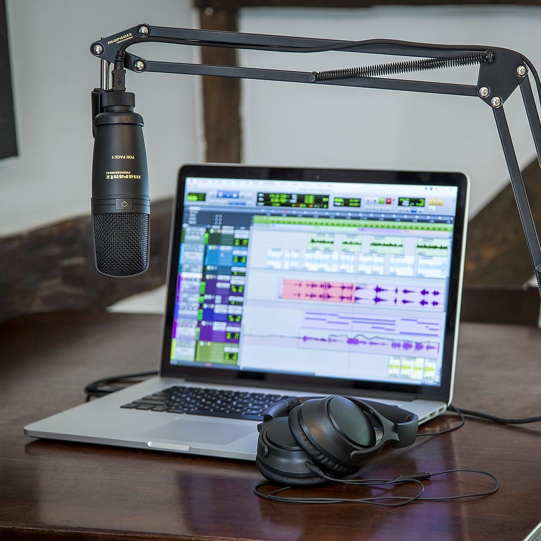 Stand Ajustable et C/âble USB Kit de Podcasting Complet avec Microphone /à Condensateur USB Professionnel Marantz Professional Pod Pack 1