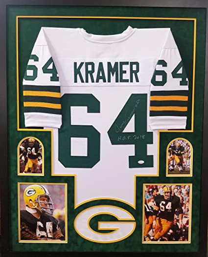 ab0409d2fb4f4 Jerry Kramer Green Bay Packers Autograph Signed Custom Framed White Jersey  HOF INSCRIBED Suede Matted JSA