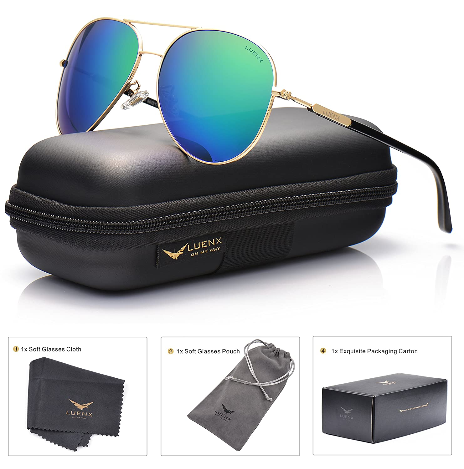 749fa67aa42 LUENX Mens Womens Aviator Sunglasses Polarized with Accessories - UV 400  Protection Large Metal Frame for Outdoor