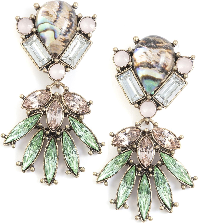 Happiness Boutique Damas Pendientes Llamativos en Verde | Pendientes Largos con Diamantes de Imitación en Rosa Pálido
