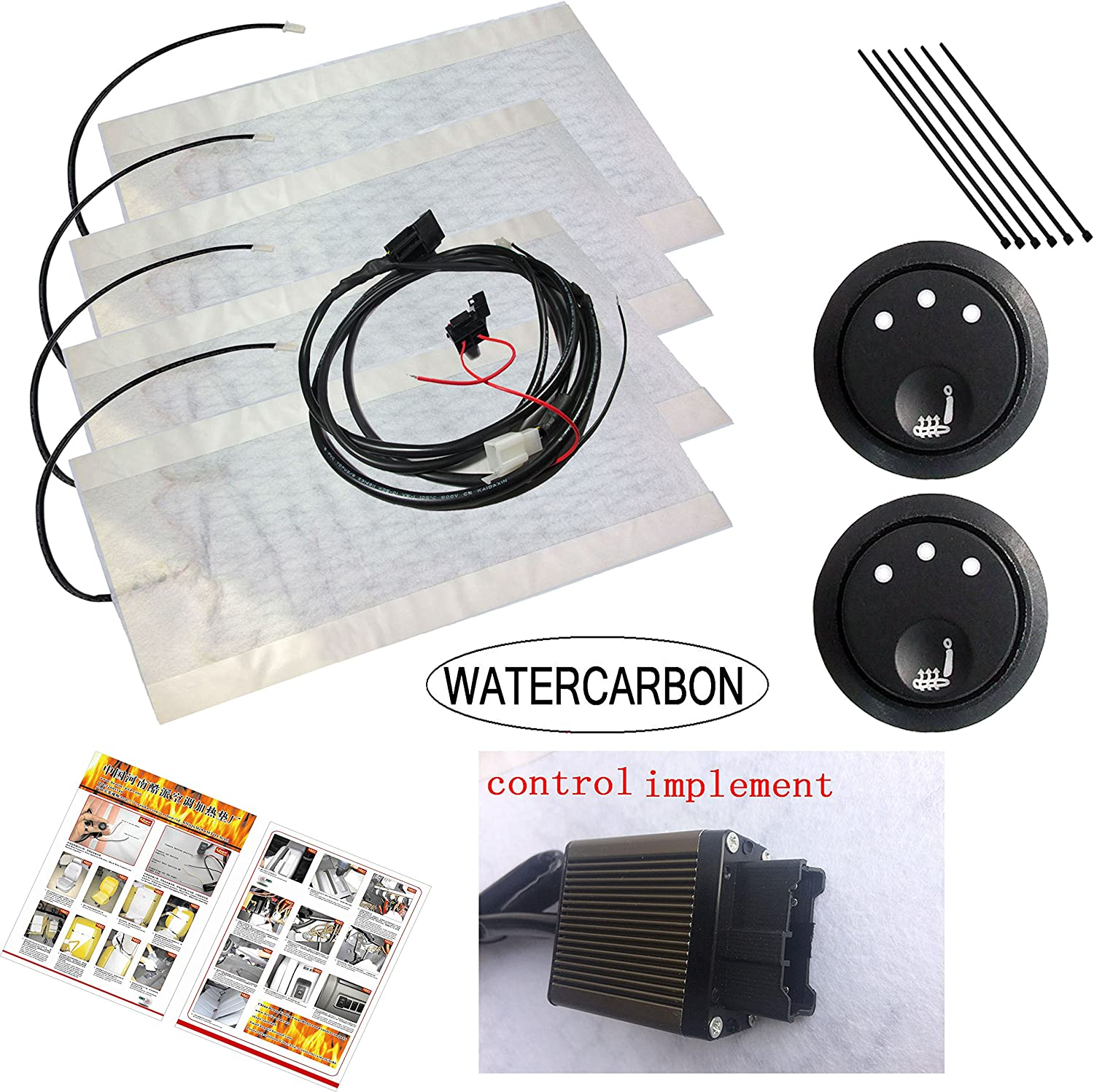 WATERCARBON Universal Car Seat Heater Kits 12v Carbon Fiber Heat Pads with Hi/Lo Temperature Switch 131~158 ℉(Set of 2) (3 White Point Round 3 Gear Heating Switch)