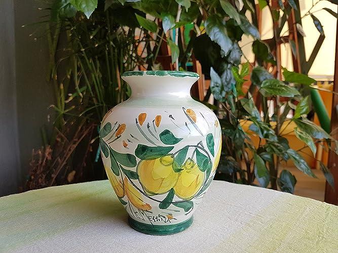 Vaso In Ceramica Siciliana Con Decorazione Limoni Vaso Decorativo