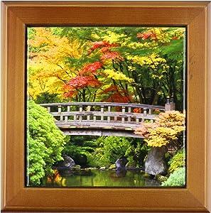 3dRose ft_93668_1 Oregon, Portland. Wooden Bridge, Japanese Garden-US38 BJA0650-Jaynes Gallery-Framed Tile, 8 by 8-Inch