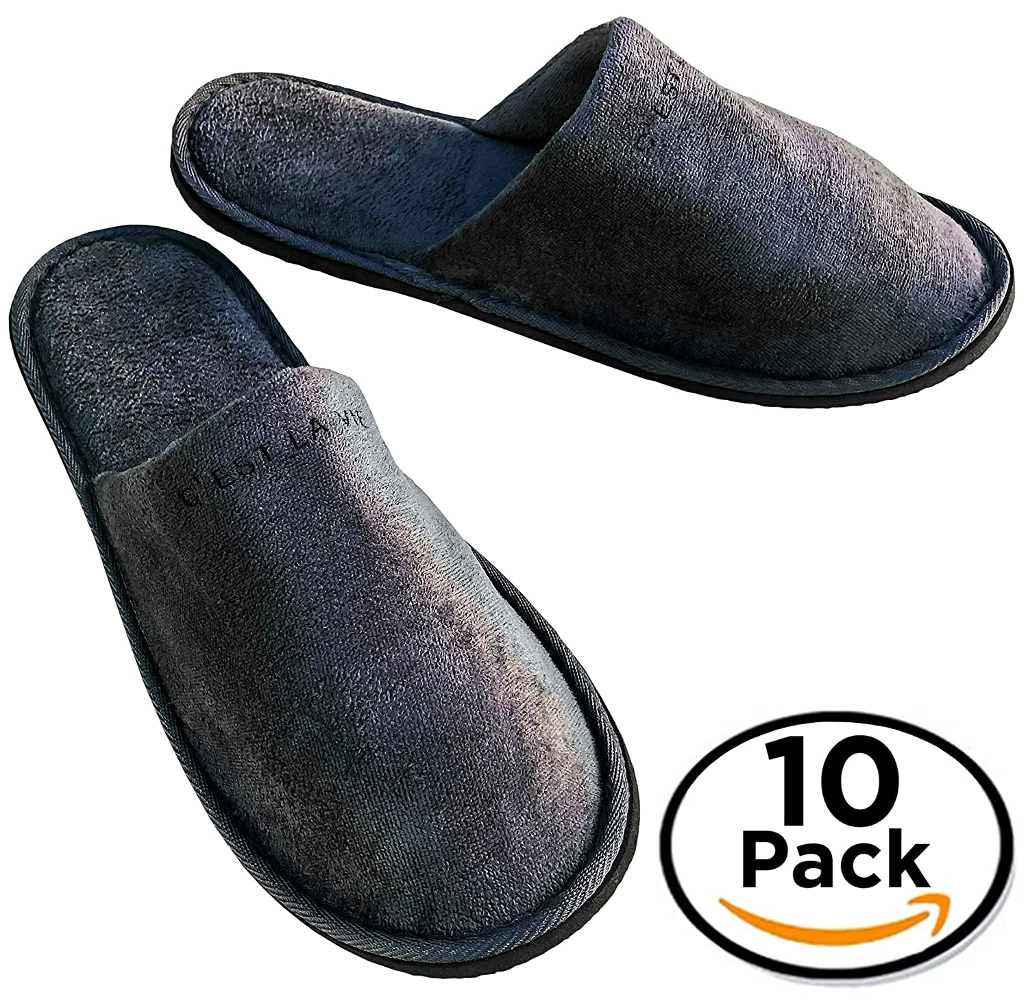 10 BULK Pack - Luxury Spa Bath Hotel Slippers by C'est La Vie - 30cm - Padded Heel, Closed Toe + Durable Non Slip Sole For Men & Women Unisex - Travel Hotel & Guest Amenities Toiletries