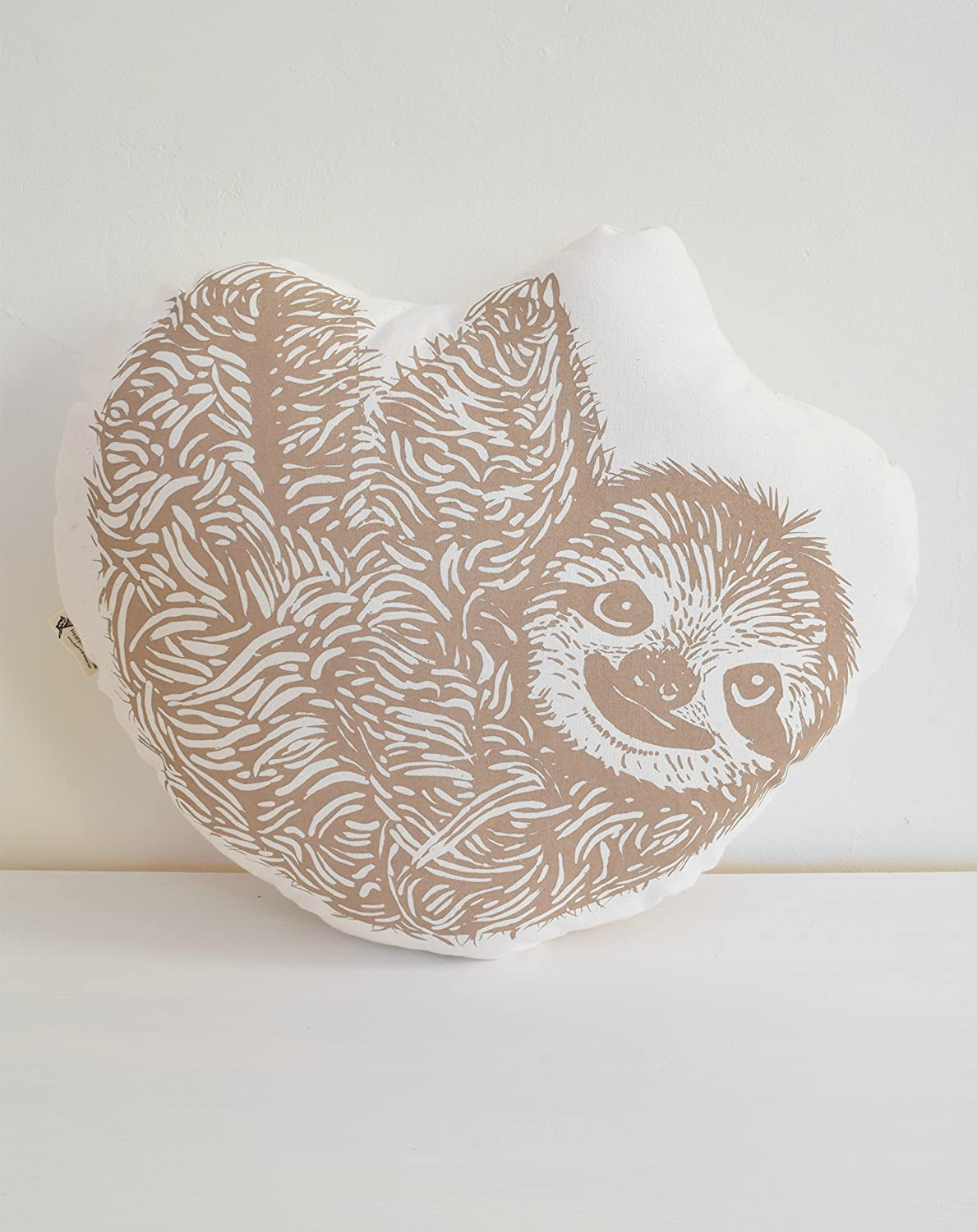 Large Sloth Pillow - Hand Printed in Mocha Brown - Hand Sewn - Organic