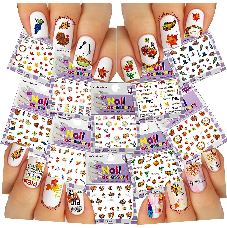 Nail Art Stickers 3D Thanksgiving Fall Autumn 10 Pack Kids Girl Gift ...