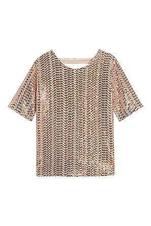 77f9d1c42960d Next T-Shirt Orné De Sequins Femme Rose Gold EU 46 (UK 18): Amazon ...