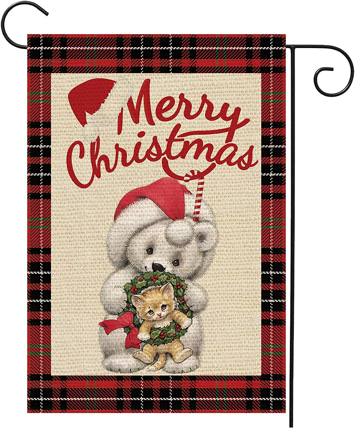 SEENPIN House Merry Chriatmas Cute Beer Cat Xmas Buffalo Check Plaid Burlap Garden Flags Fade Resistant Rustic Garden Yard Decor-Double Sided Seasonal Banner for Outdoor