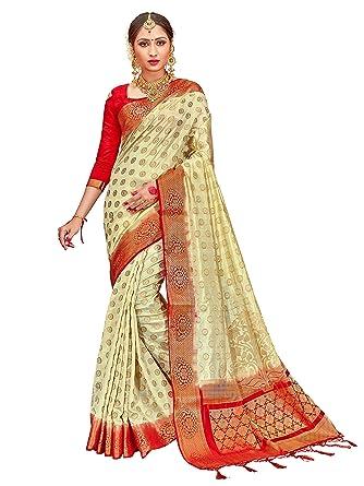 e3970e183c8 Amazon.com  ELINA FASHION Sarees for Women s Banarasi Art Silk Woven Work  Saree l Indian Wedding Ethnic Sari   Blouse Piece (Cream)  Clothing
