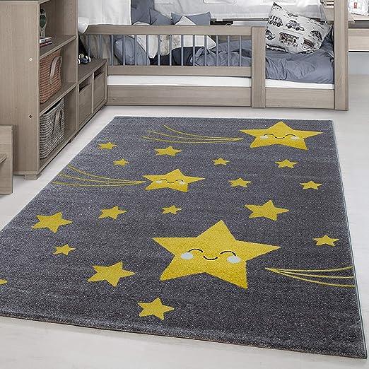 Tapis rectangulaire ou rond pour chambre d\'enfant/de bébé Motif étoiles  mignonnes Gris et jaune, Polypropylène, jaune, 160 cm