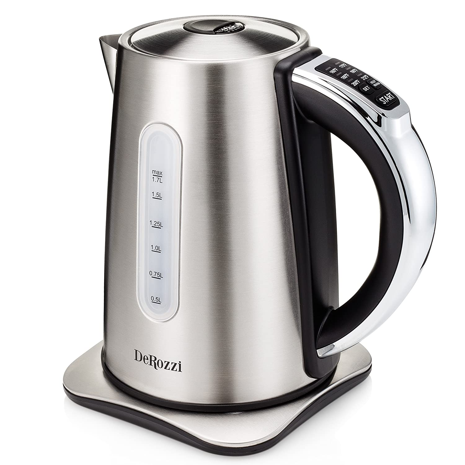amazoncom derozzi stainless steel electric kettle for tea water  - amazoncom derozzi stainless steel electric kettle for tea water pot with temperature control variable heat settings cordless  liter kitchen dining