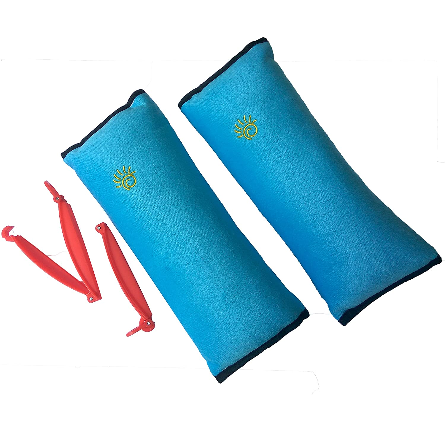 2 Car Seat Belt Pillows for Kids with 2 Seatbelt Clip - Headrest Neck Support Pads - Washable Covers - Adjust Vehicle Seat Belt Cushion for Children Our Daily Life