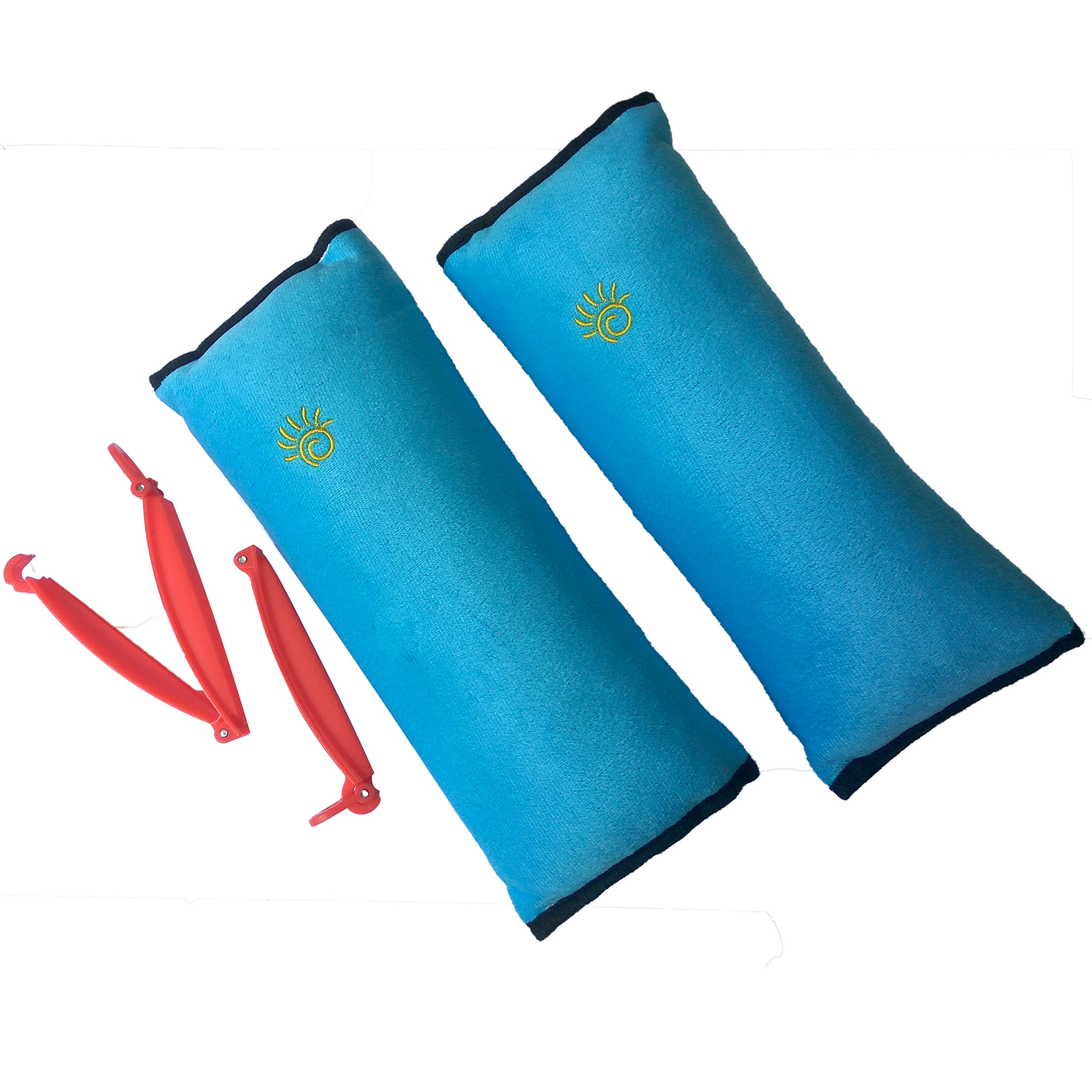 2 Car Seat Belt Pillows for Kids with 2 Seatbelt Clip - Headrest Neck Support Pads - Washable Covers - Adjust Vehicle Seat Belt Cushion for Children