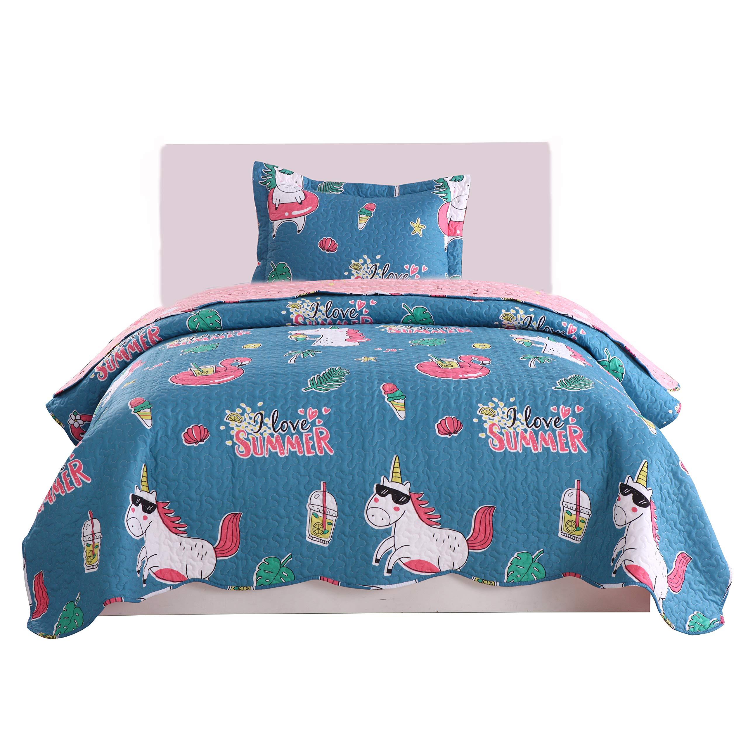 MarCielo 2 Piece Kids Quilt Set Lightweight Bedspread Throw Blanket for Teens Boys Girls Bed Printed Beach Sea Bedding Coverlet Comforter Set, 277 Fish (Twin(68''X86''))