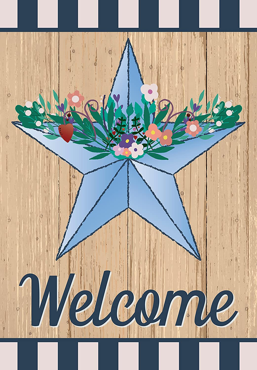 Eastif Blue Barn Star Welcome Garden Flag Doubled Sided