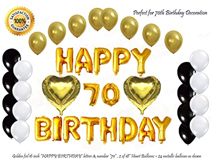Shiny Golden Happy 70th Birthday Decorations Foil Letters Balloon Set By PartyPlace 2 Heart Shape