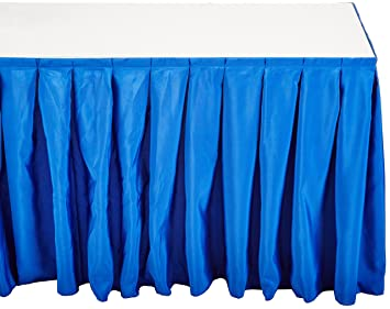 Accordion Pleat Polyester Table Skirt Royal Blue