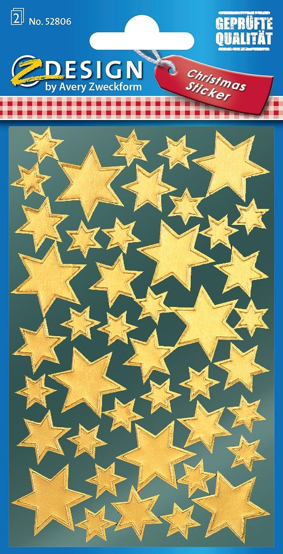 AVERY Zweckform ZDesign Weihnachts-Sticker Dekor Sterne  gold 86 Sticker