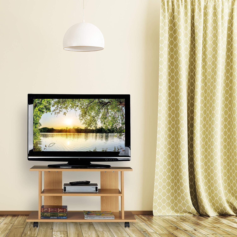 Relaxdays Mueble TV Ruedas con 2 Compartimentos, Mesa Televisión, 45 x 80 x 40 cm, Marrón: Amazon.es: Hogar