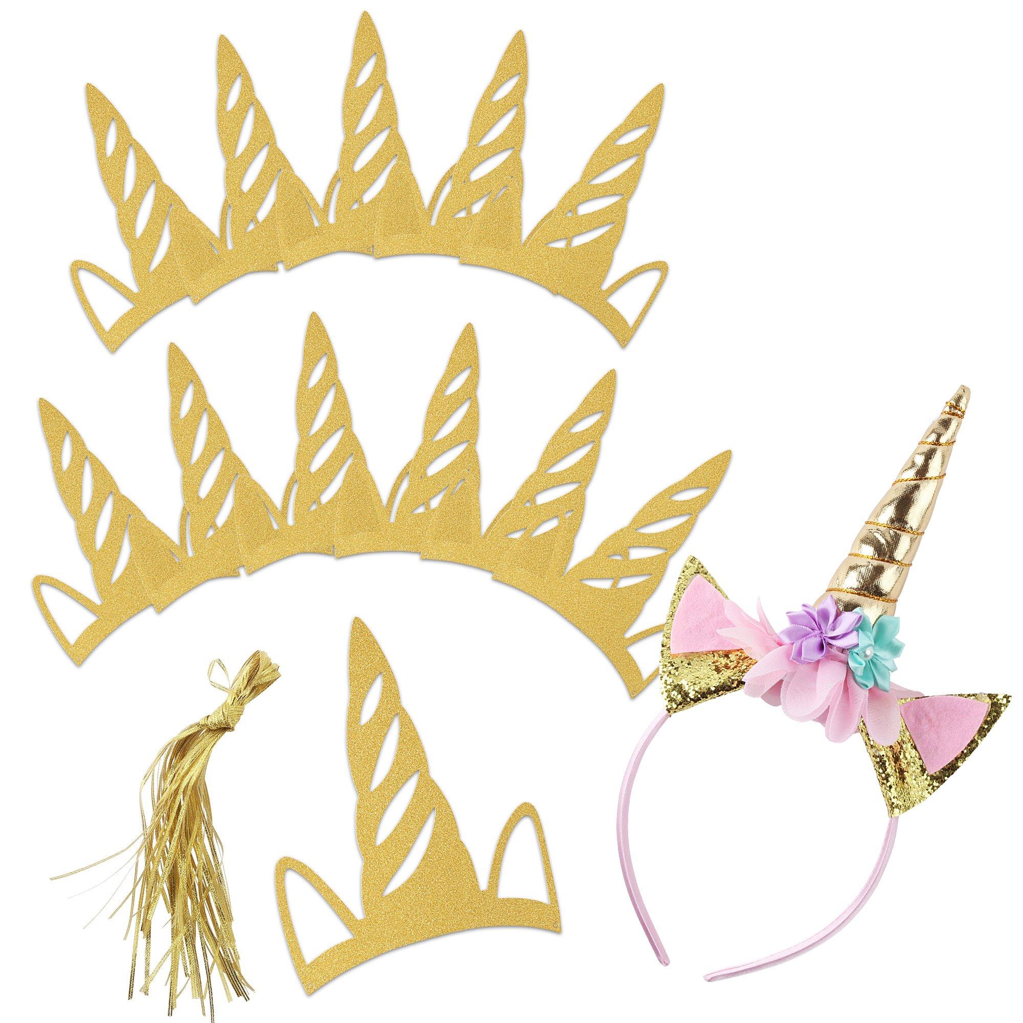 Unicorn Headband Party Hats 13 Pack: Includes 1 Birthday Headband and 12  Glitter Paper Headbands, Birthday Favor Pack (Rainbow Unicorn)