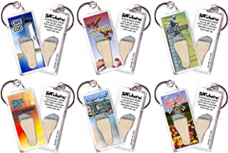 "product image for Cape Cod""FootWhere"" Souvenir Keychains. 6 Piece Set. Made in USA"