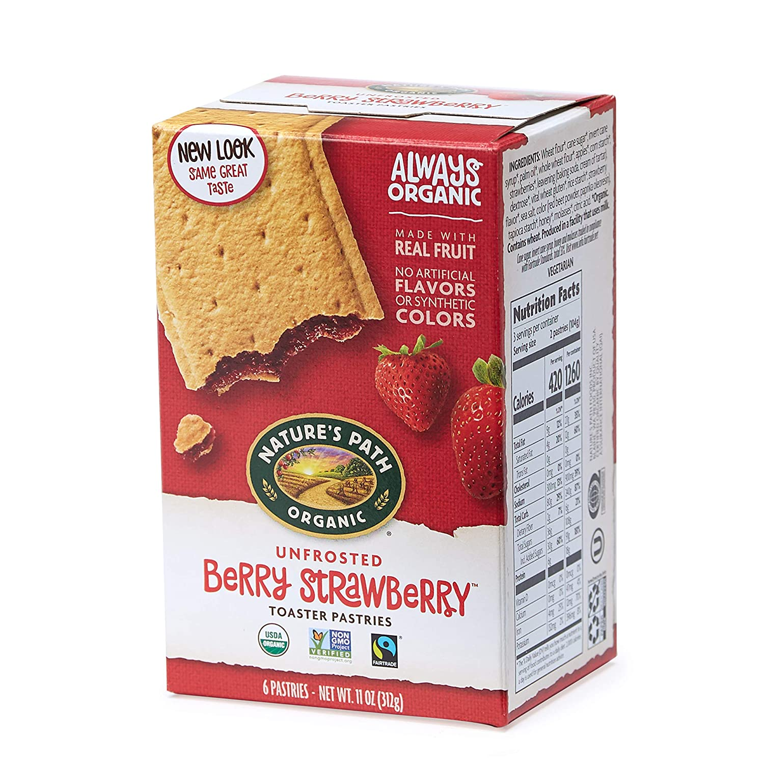 Nature's Path Unfrosted Berry Strawberry Toaster Pastries, Healthy, Organic, 11-Ounce Box (Pack of 12)