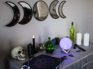 Black Magic Witch Moon Mirror - Announcing Love Home Wall Decor - Moon Phase Mirror Set with Spooky Reflection Effect - Moon Mirror Wall Decor for Living Room Bedroom Nursery Easy to Hang No Drilling