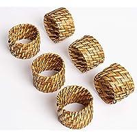 ESPO Juego de 6 servilleteros de bambú como decoración de mesa para el comedor para servilletas de tela en plata y oro o…