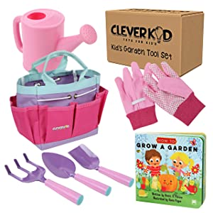 Kids Gardening Tools - Includes Sturdy Tote Bag, Watering Can, Gloves, Shovels, Rake, and a Delightful Children's Book How to Garden Tale - Kids Garden Tool Set for Toddler Age on up.