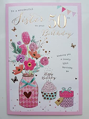 Sister 50th Birthday Birthday Card Amazon Kitchen Home