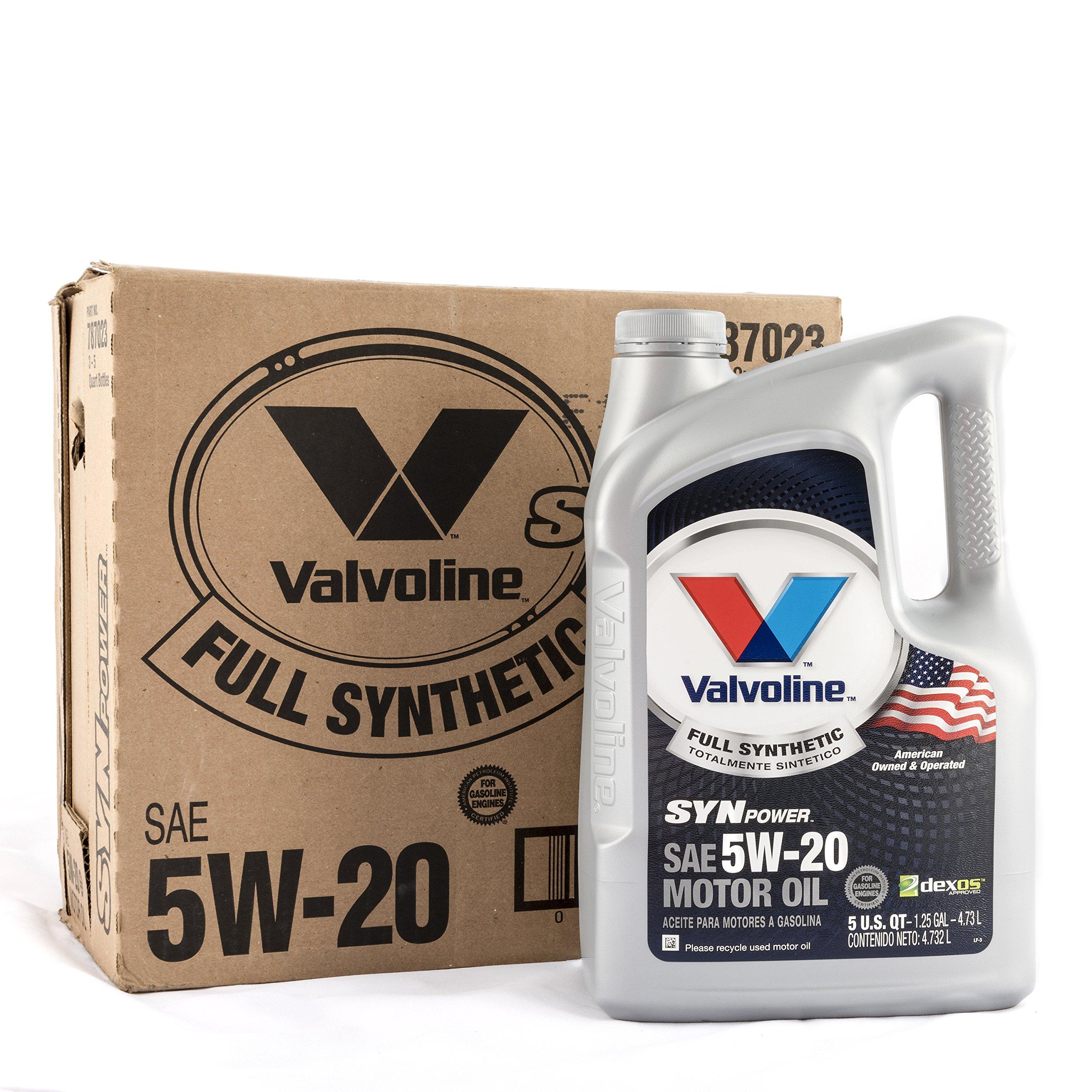 Valvoline 5W-20 SynPower Full Synthetic Motor Oil - 5qt (Case of 3) (787023-3PK) by Valvoline