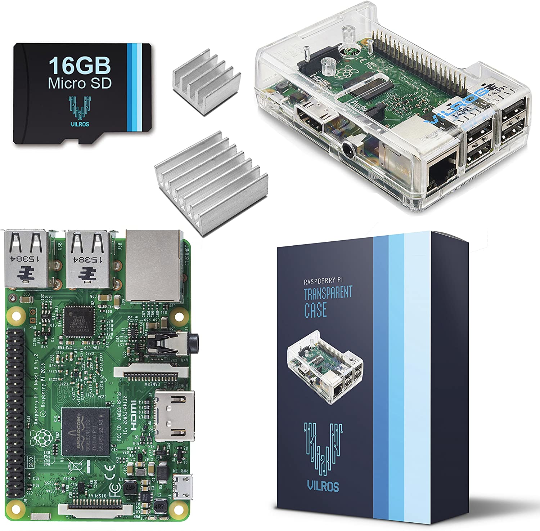Raspberry Pi 3 Barebones Kit - Includes Raspberry PI 3-16GB Micro SD Card - Clear Case - Heatsink