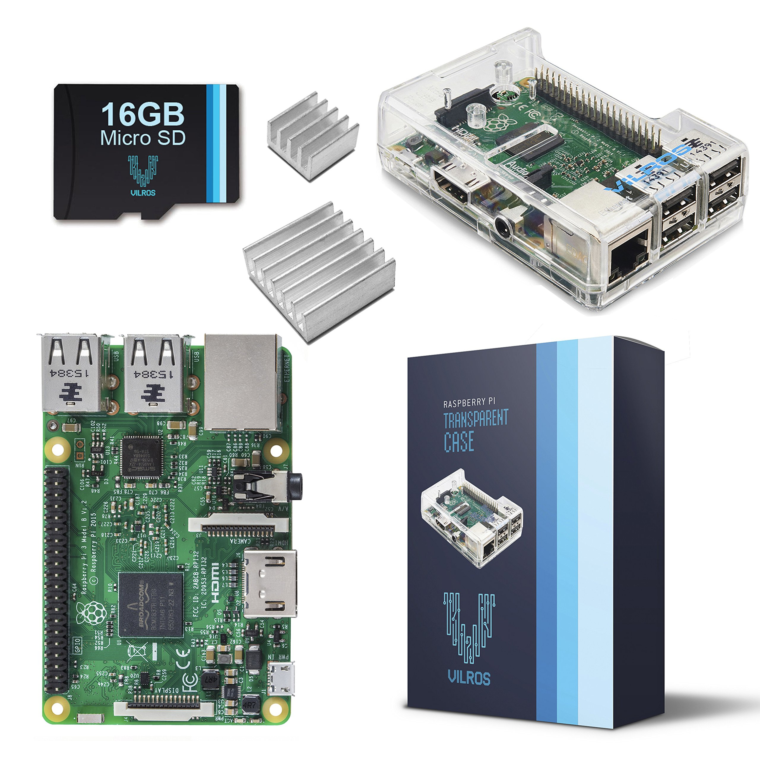 Raspberry Pi 3 Barebones Kit - Includes Raspberry PI 3 - Sandisk 16GB Micro SD Card - Clear Case - Heatsink by Vilros