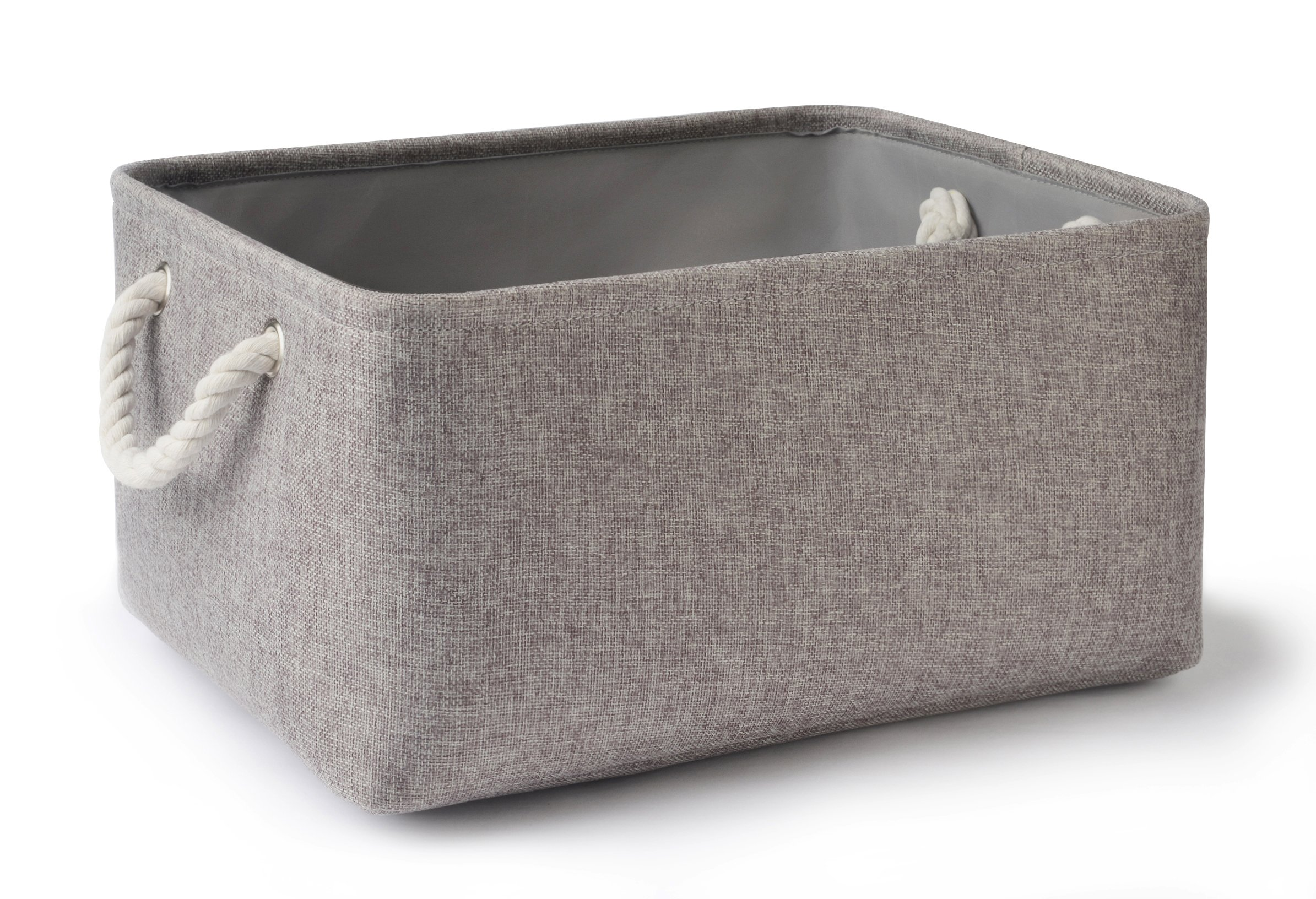Perber Collapsible Storage Basket Bins, Decorative Foldable Rectangular Linen Fabric Storage Box Cubes Containers Handles- Large Organizer Nursery Toys,Kids Room,Towels,Clothes, Grey 16Lx12Wx7.9H