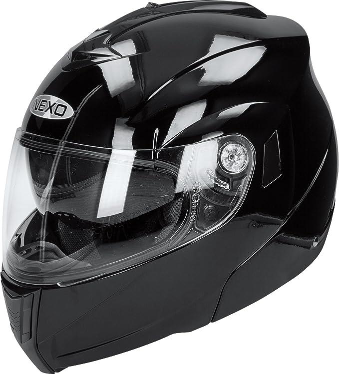 Nexo Klapphelm Motorradhelm Helm Motorrad Mopedhelm Klapphelm Basic Schwarz S Unisex Tourer Ganzjährig Thermoplast Bekleidung