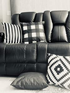 MAKE IT HOME Black & White Decorative Cotton throw pillow covers: 18x18in. PILLOW COVERS ONLY. 4 piece pillow cover set. 4 patterns: Solid, Checkered Plaid, Striped, and Geometric. Invisible zipper.